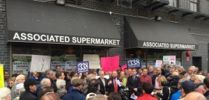 The rally at the Associated Supermarket on 14th Street